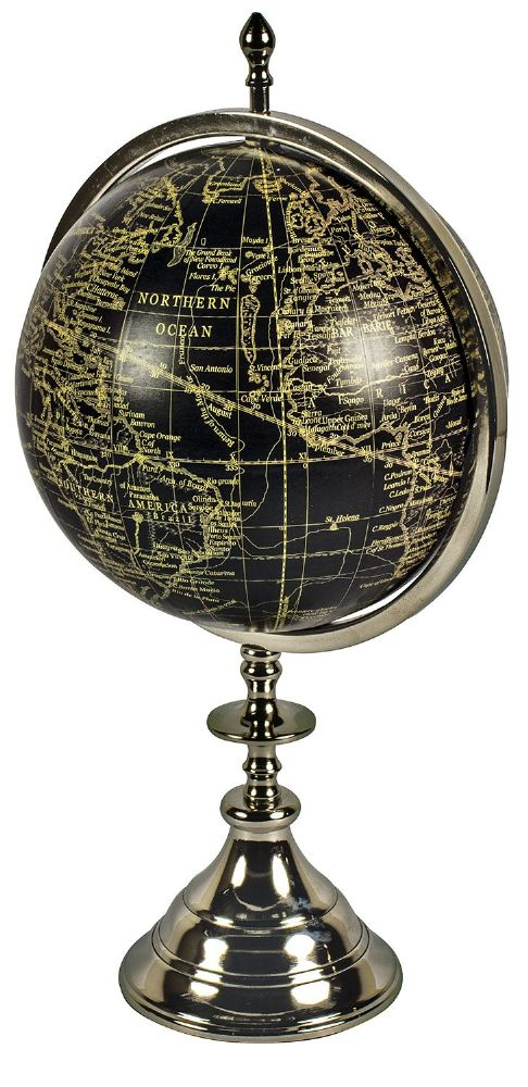 Black & Silver World Globe On Aluminium Stand